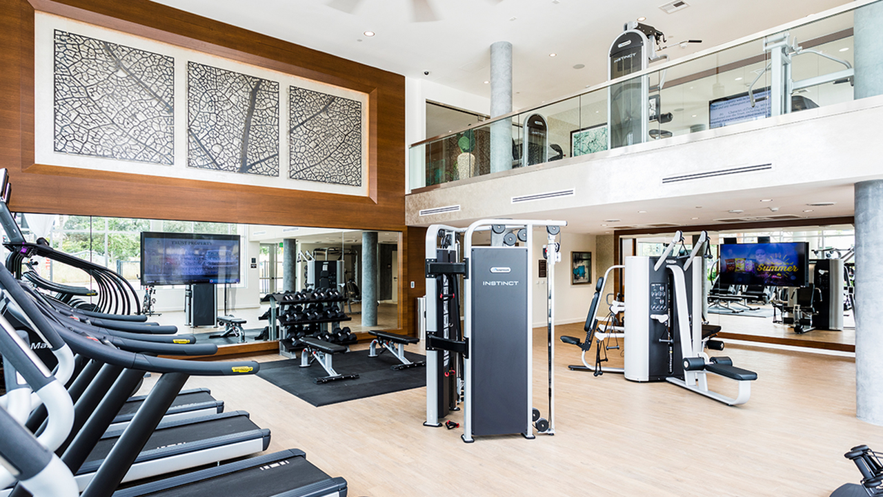 Two story gym with cardio equipment.