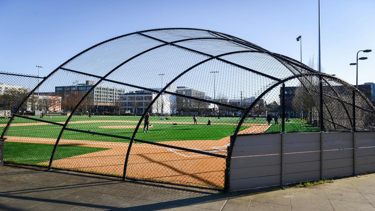 Outdoor baseball field