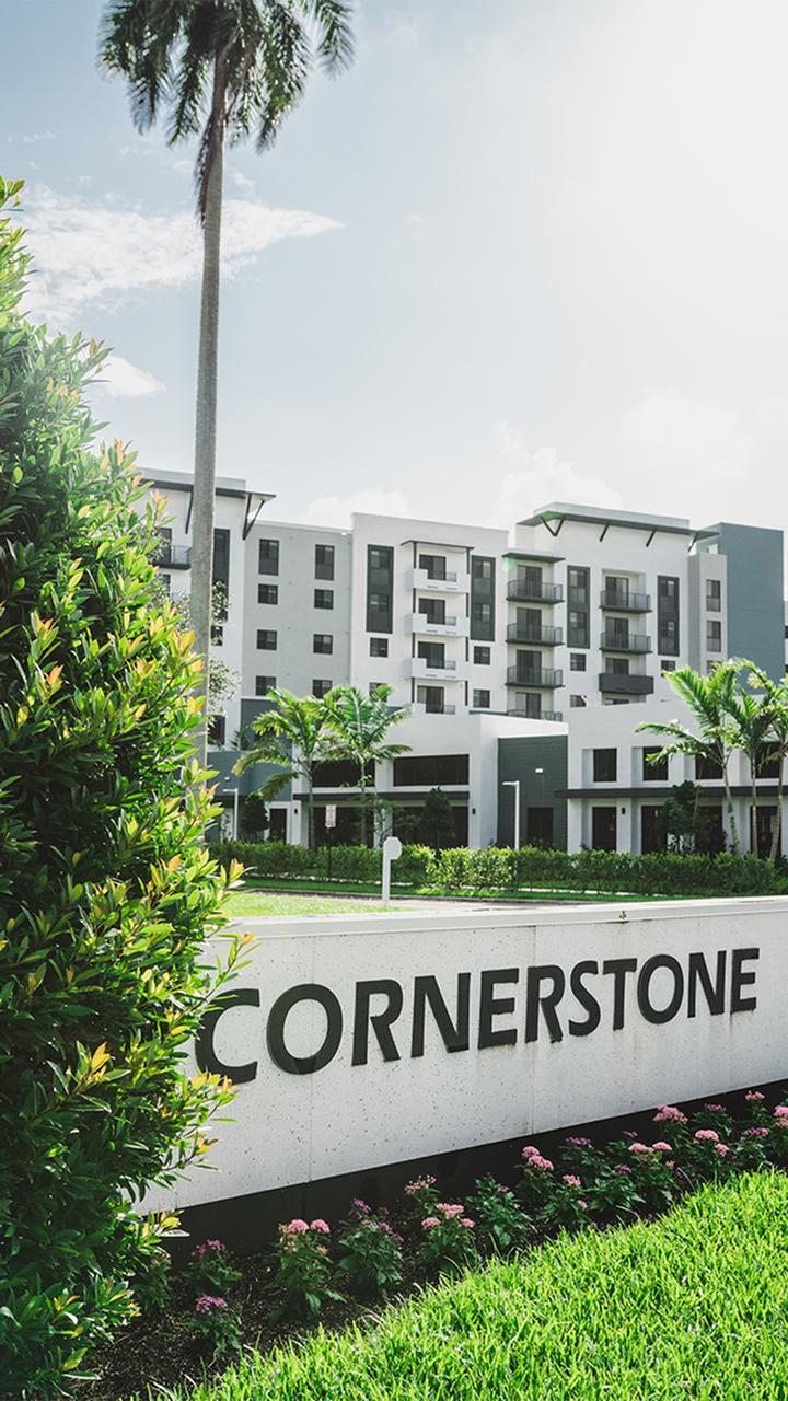 Exterior signage for Cornerstone