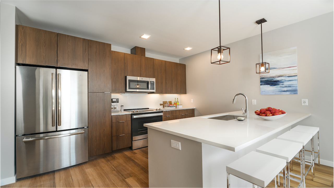 """Custom 42"""" cabinets with soft close doors and under cabinet lighting (Apartment)"""