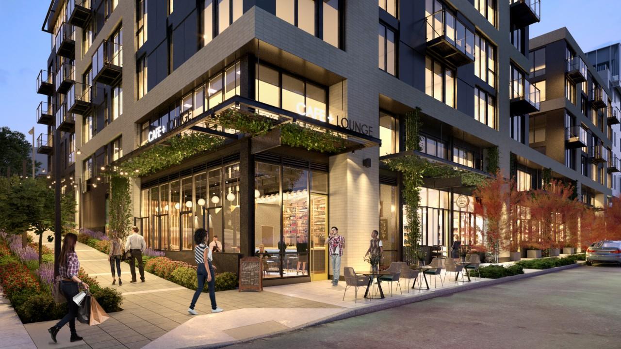 Exterior rendering of retail space