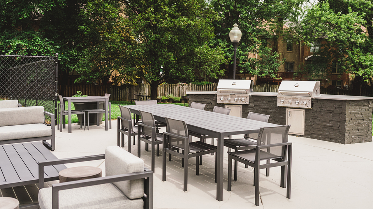 Outdoor kitchen and community dinning table