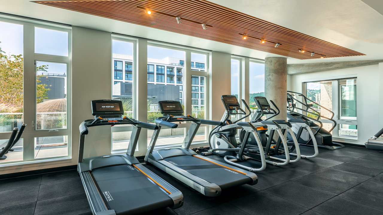 HIIT inspired fitness studio with treadmills, ellipticals and stairmasters
