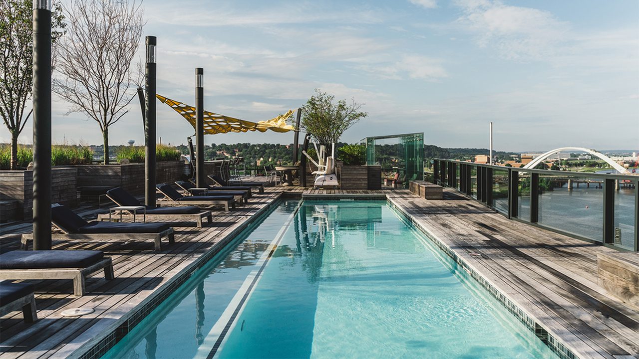 25 yard lap pool on rooftop at Arris Apartments overlooking Anacostia River