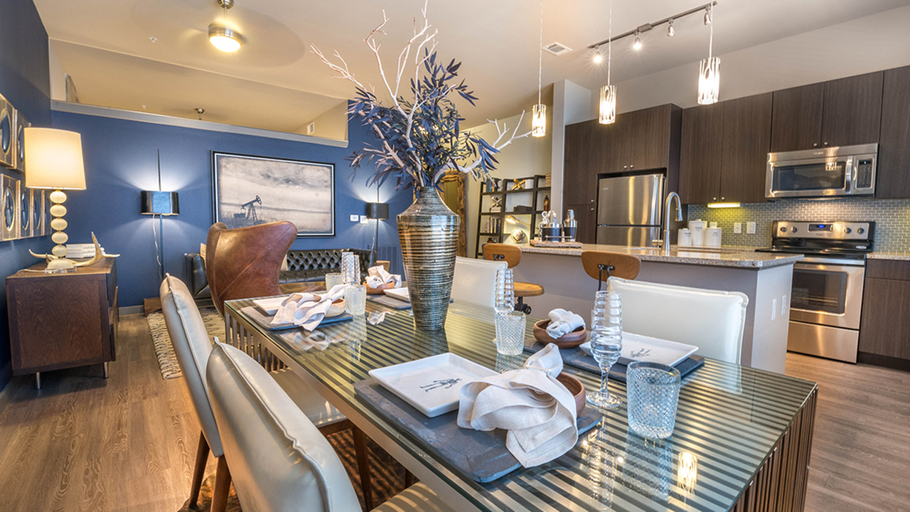 Dining and Living Rooms in Modera Flats Apartment