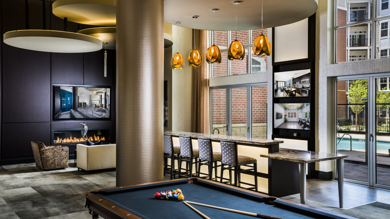 Billiards and bar lounge at Modera Fairfax Ridge