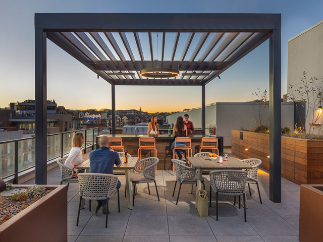 Outdoor dining area and bbq grilling stations