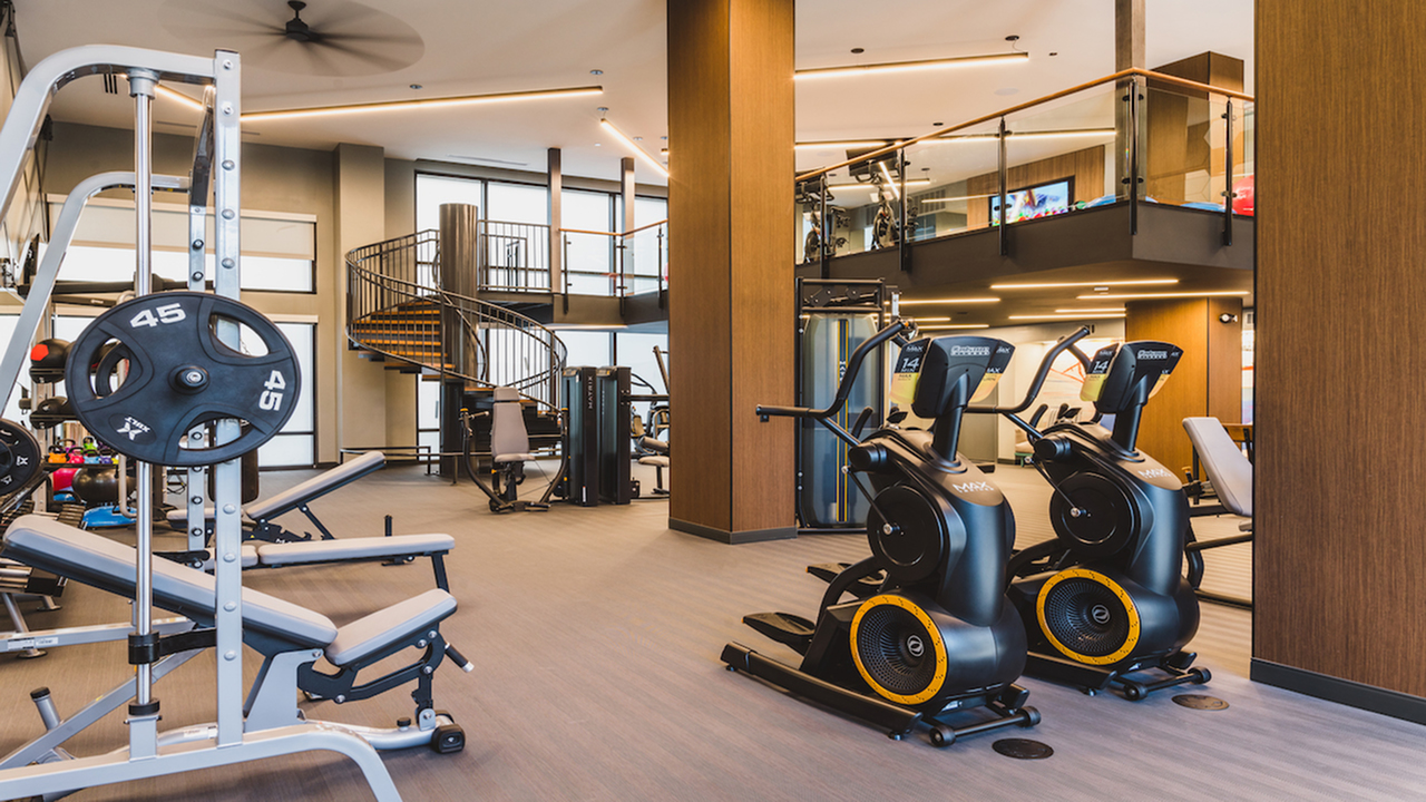 Fitness studio with second floor yoga and spin room
