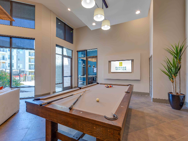 Resident clubroom with billiards table