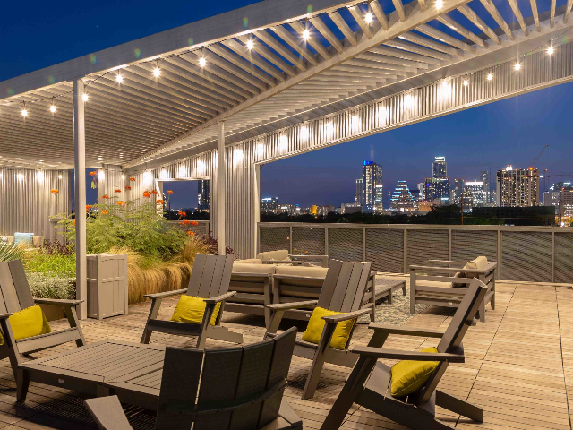 Rooftop seating overlooking downtown Austin