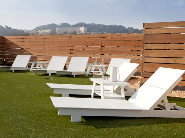 Loungers on rooftop