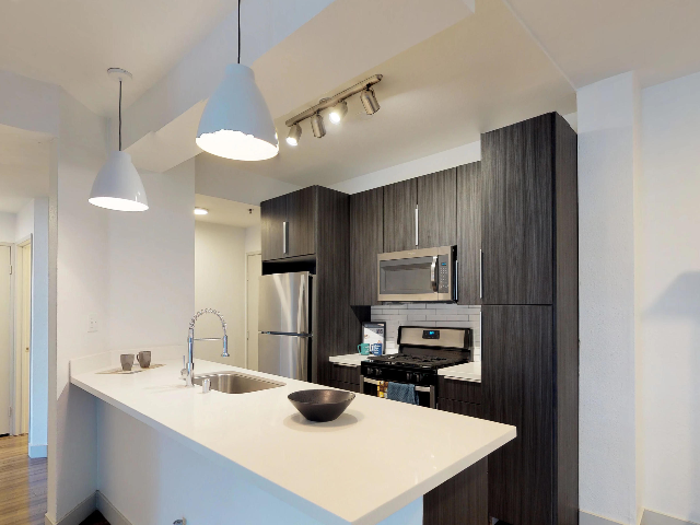 Kitchen with modern lighting