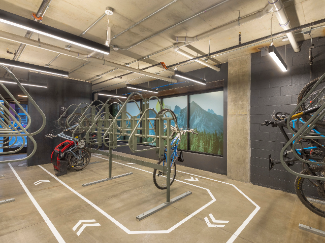 Controlled Access Bike Room with Bike Racks and a Fully-Equipped Workstation