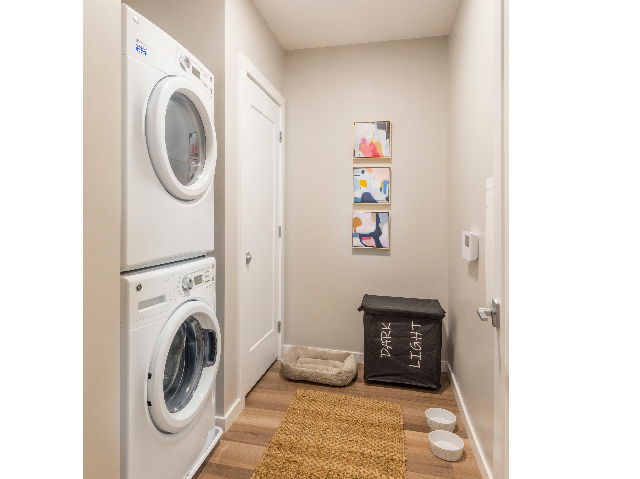 Full-size stackable front-loading washers and dryers