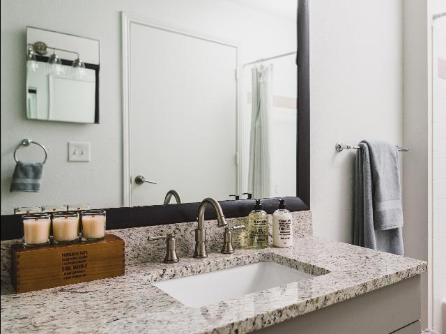 Granite countertops in bathroom