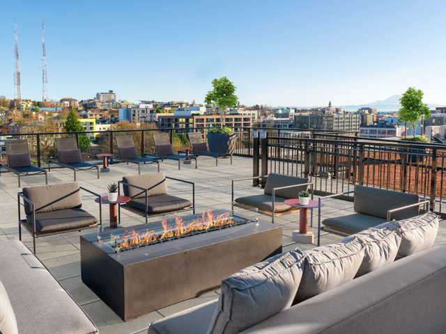 Rooftop fire pits and lounge seating