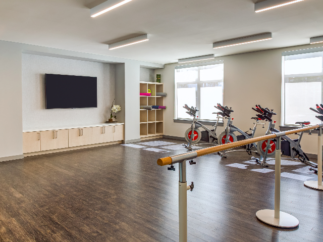 Fitness center with spin bikes and barre