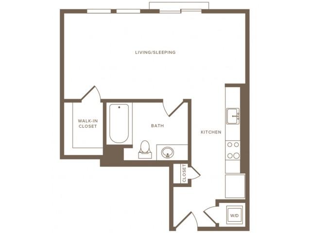Modera Hollywood Apartments Studio 02 Floor Plan