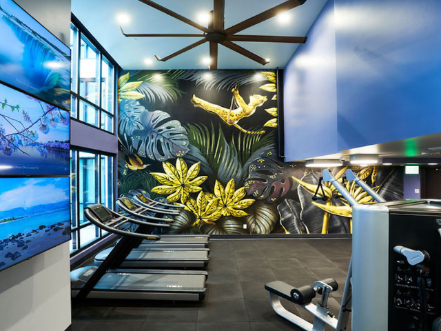 Fitness center with treadmill with cardio theatre