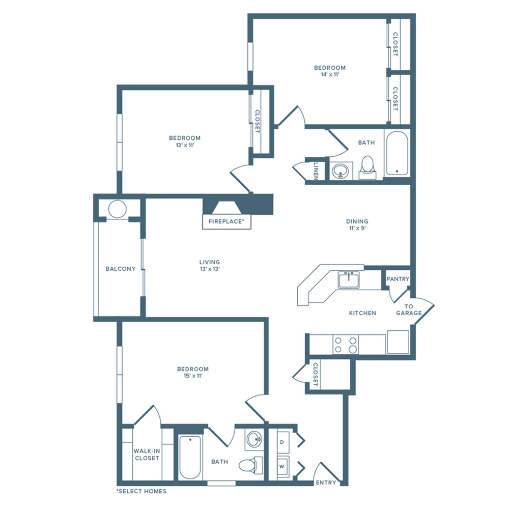1421 square foot renovated three bedroom two bath with garage floor plan image