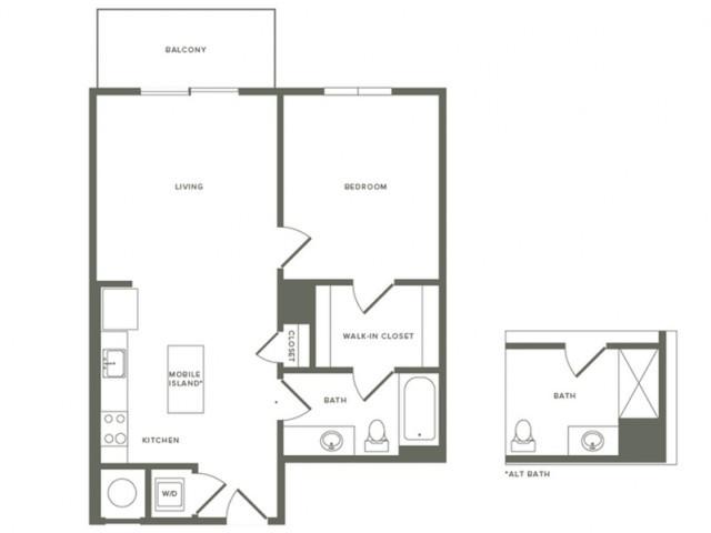 733 square foot one bedroom one bath apartment floorplan image