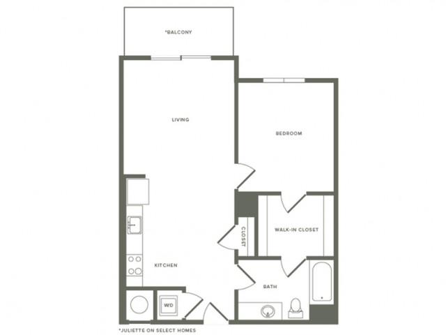 758 square foot one bedroom one bath apartment floorplan image