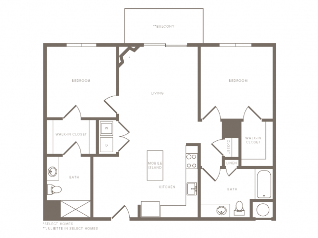 1088 square foot two bedroom two bath apartment floorplan image