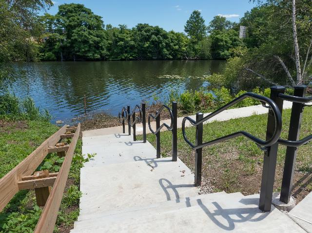 Kayak launch and direct access to walking/biking path along Malden River