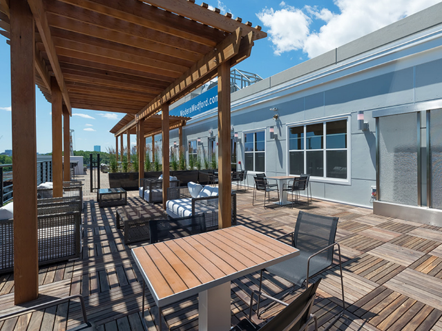 Rooftop deck with dining seating