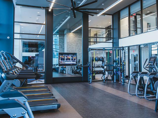Membership-class fitness center with yoga studio