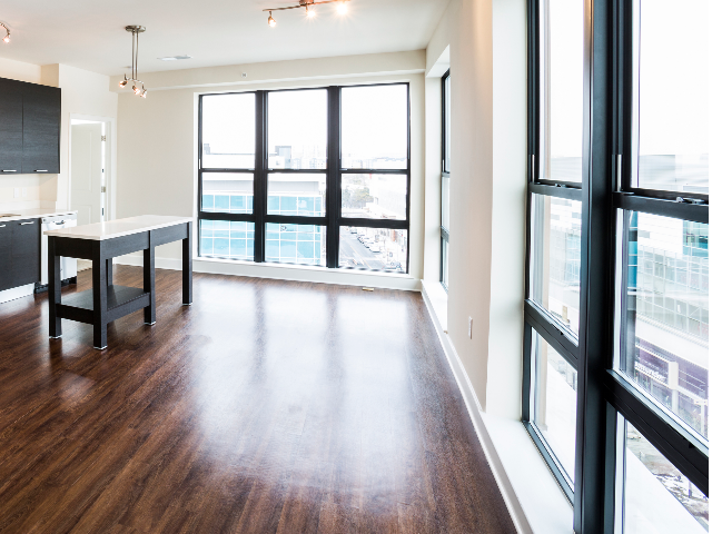 Floor to ceiling windows in the living area