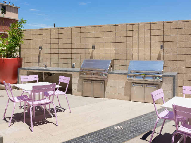 Outdoor kitchen and table
