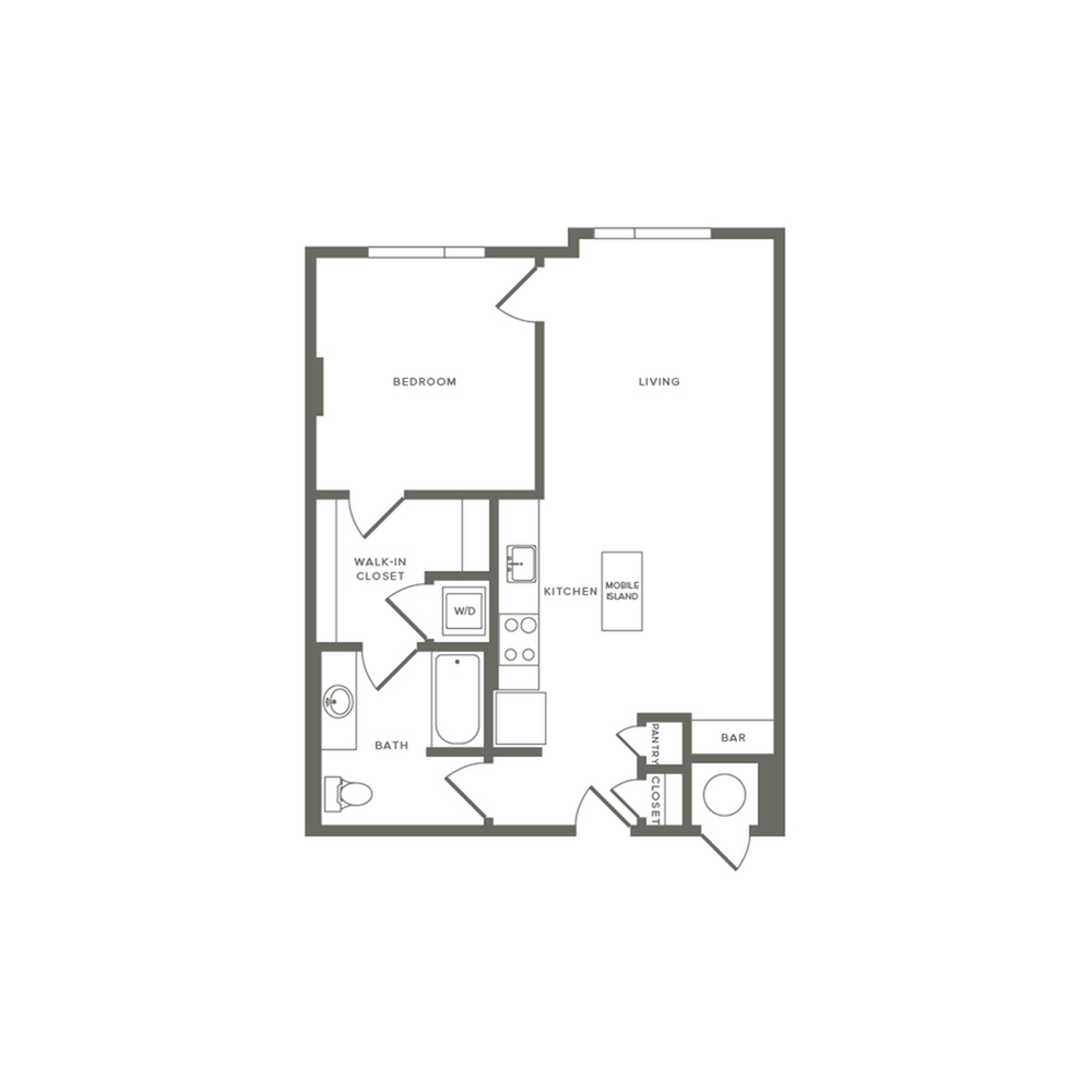 692 to 736 square foot one bedroom one bath apartment floorplan image