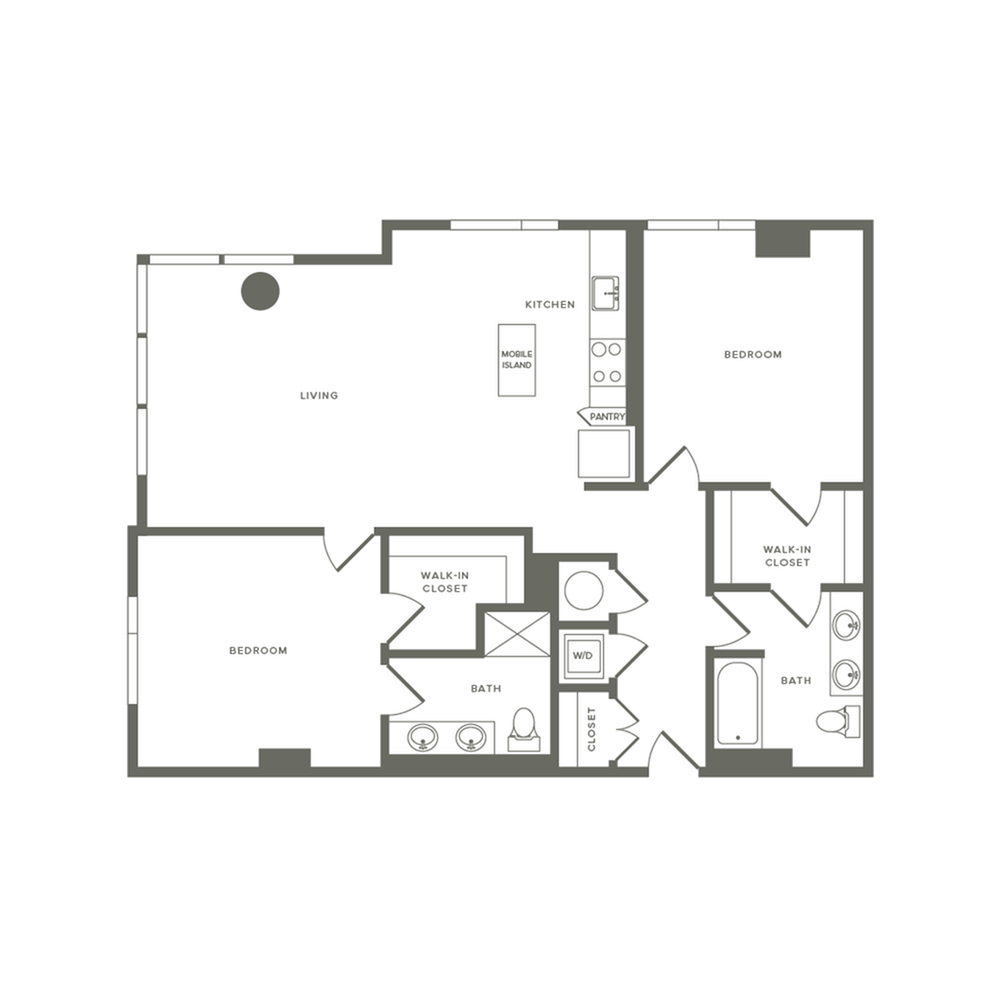 1229 square foot two bedroom two bath apartment floorplan image