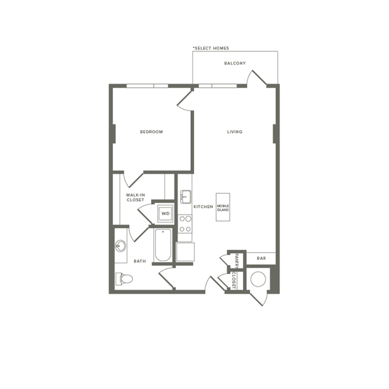 693 to 736 square foot one bedroom one bath apartment floorplan image
