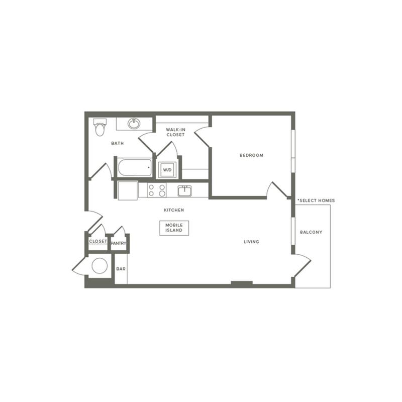 695 square foot one bedroom one bath apartment floorplan image