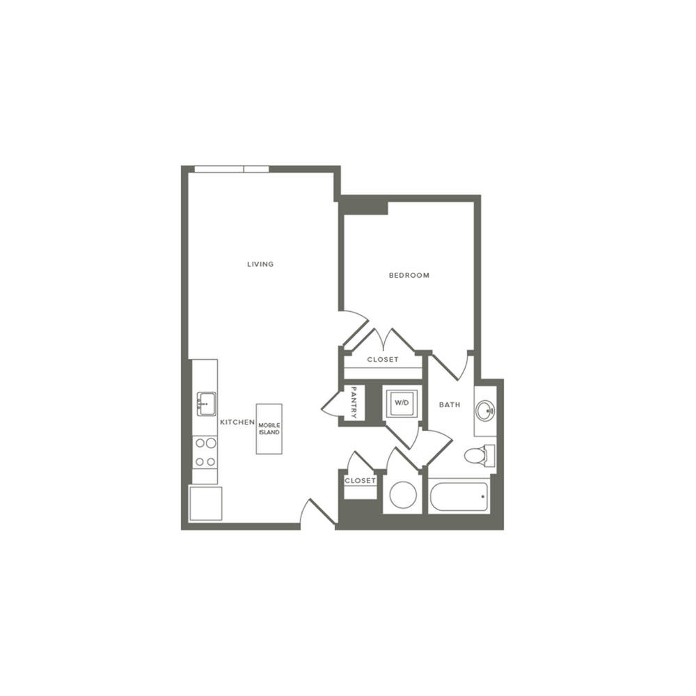 677 to 680 square foot one bedroom one bath apartment floorplan image