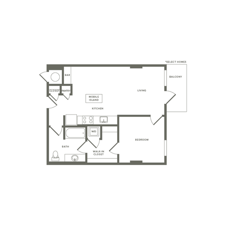 694 to 698 square foot one bedroom one bath apartment floorplan image