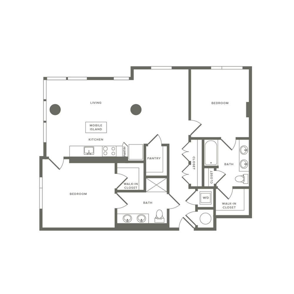 1163 square foot two bedroom two bath apartment floorplan image