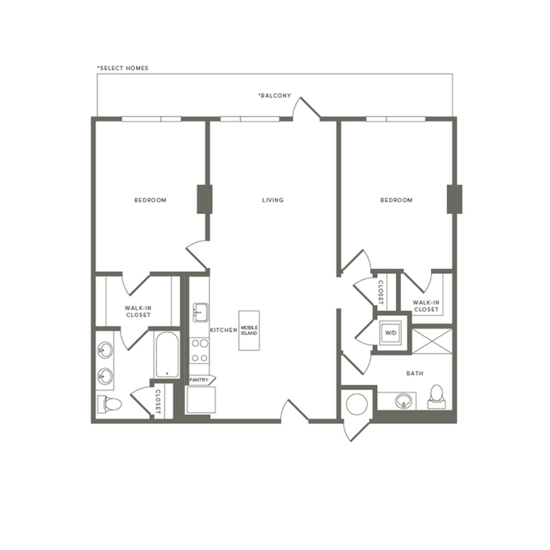 1058 to 1124 square foot two bedroom two bath apartment floorplan image