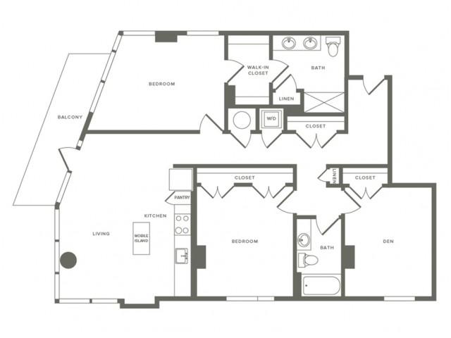 1355 to 1437 square foot three bedroom two bath apartment floorplan image
