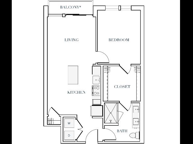 787-790 square foot one bedroom one bath apartment floorplan image