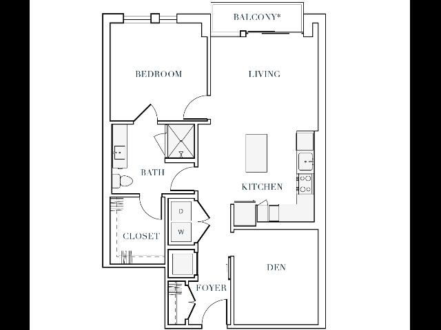 870-872 square foot one bedroom one bath apartment floorplan image