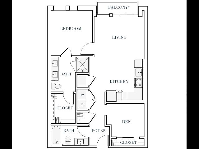 924-937 square foot one bedroom two bath apartment floorplan image