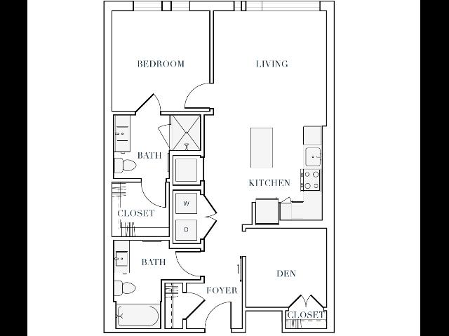 902-914 square foot one bedroom two bath apartment floorplan image