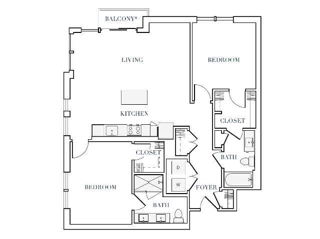 1137-1161 square foot two bedroom two bath apartment floorplan image