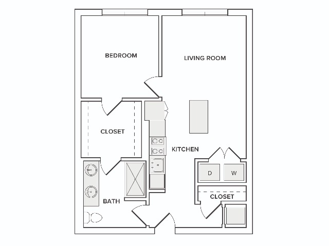 731-744 square foot one bedroom one bath apartment floorplan image