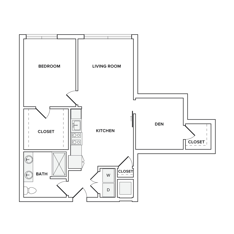 908-946 square foot one bedroom one bath apartment floorplan image