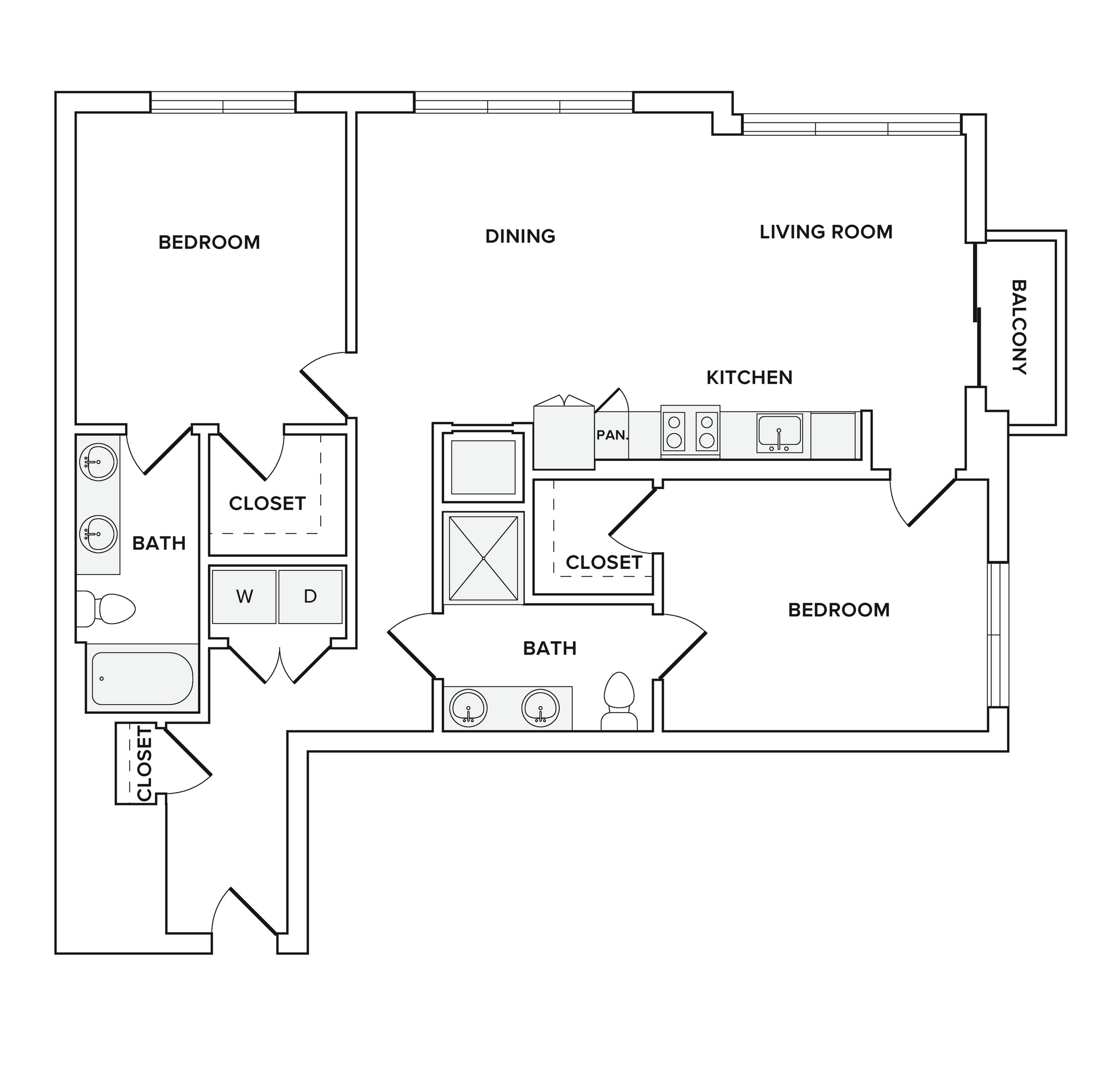 1180-1191 square foot two bedroom two bath apartment floorplan image