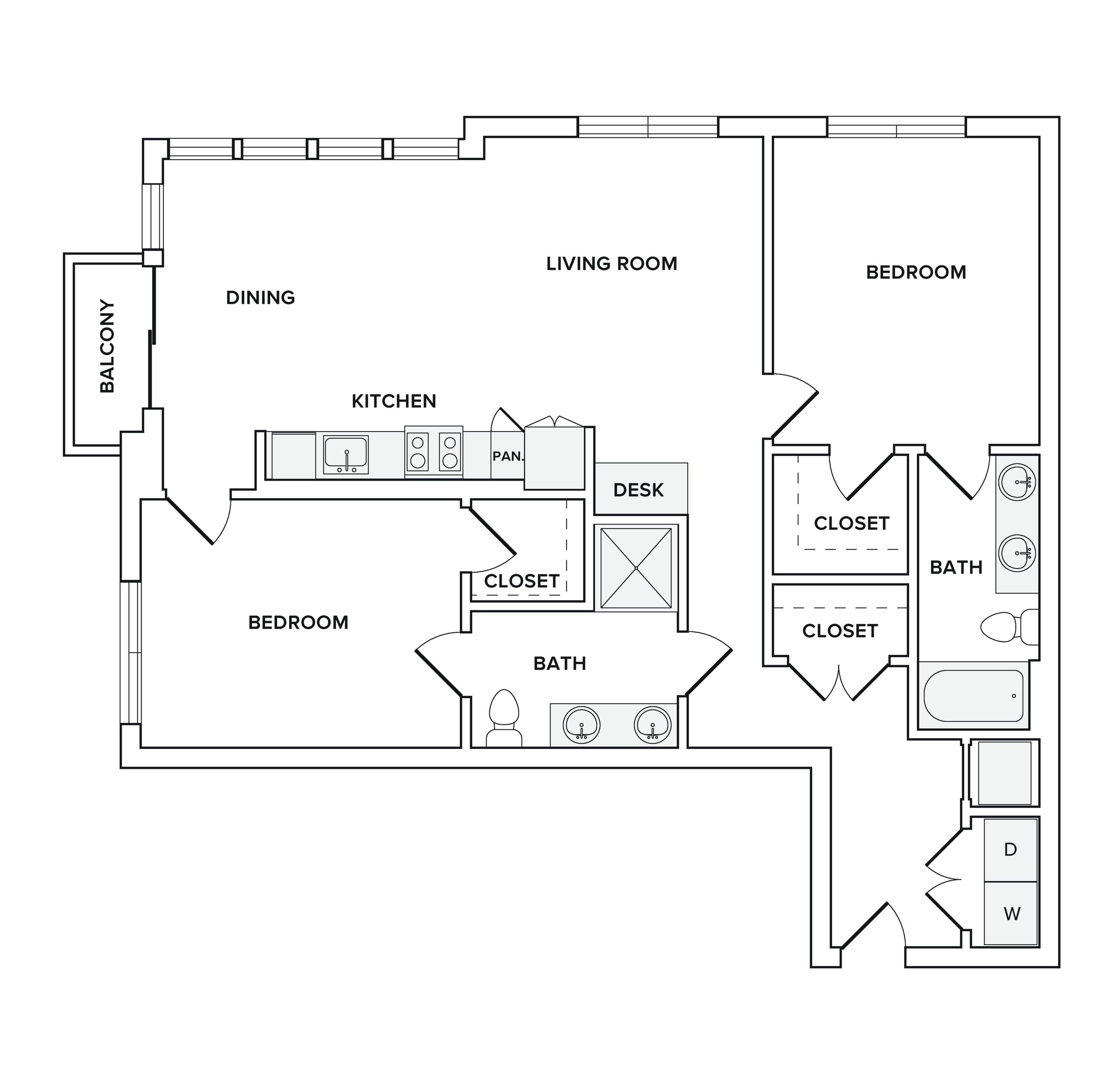1202-1219  square foot two bedroom two bath apartment floorplan image